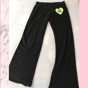 "VS PINK Black ""Love Pink"" Sweatpants"